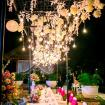 Hanging Light bulb on bridal table