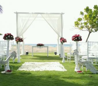 wedding ceremony set up with sea view