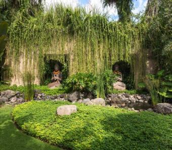 Villa Bidadari Cliffside Estate garden detail