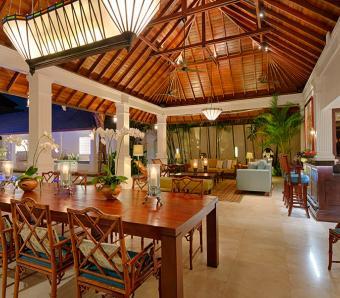 Villa Windu Asri Open Dining Room at Night