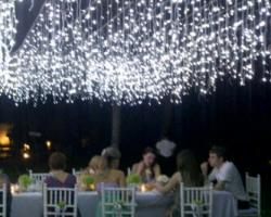 fairy light curtain dinner reception