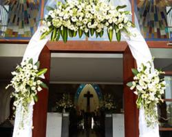 flower arch entrance church