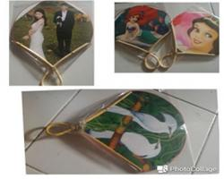 Wedding souvenir - Rattan Fan and cartoon