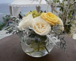 flower centerpiece on small bowl